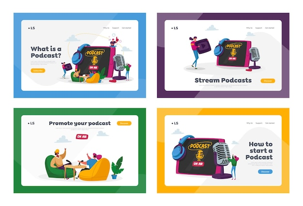 Podcast, audioprogramm online broadcasting landing page template set.
