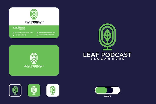Podcast-blatt-logo-design und visitenkarte