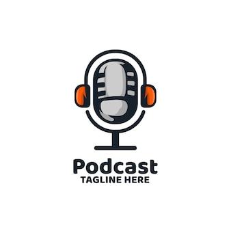 Podcast broadcast mic nachrichtenaufzeichnungslogo
