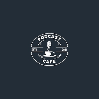 Podcast cafe silhouette emblem logo