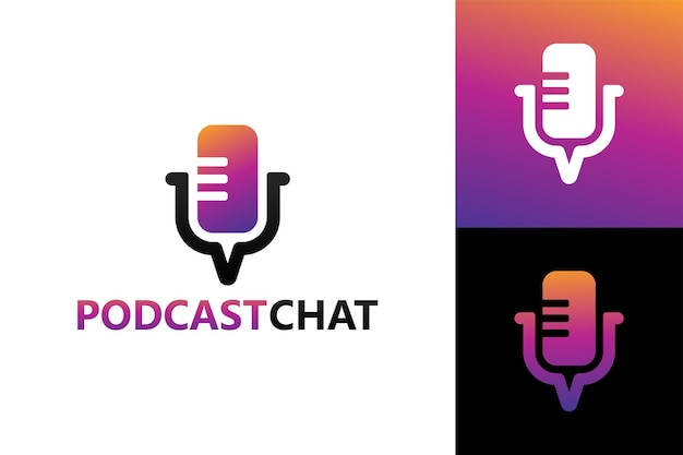 Podcast-chat, gesprächsmikrofon-logo-vorlage premium-vektor