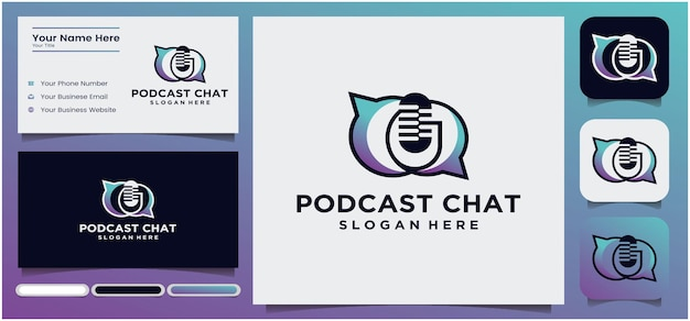 Podcast-gespräch-logo-design podcast-mikrofon-chat-logo-design radio-logo mit mikrofon