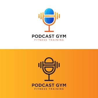 Podcast gym fitness training logo, mikrofon mit langhantel logo konzeptvorlage