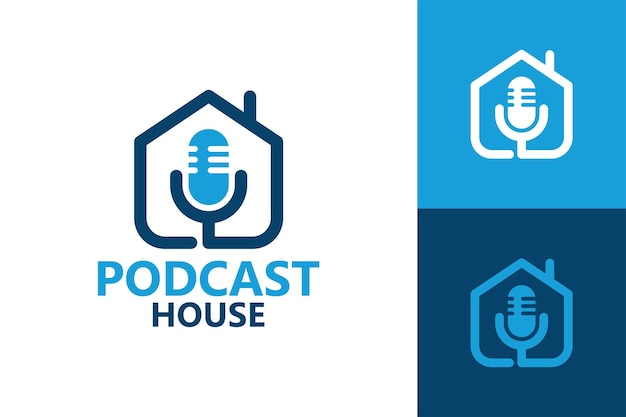 Podcast-haus, mikrofon und hauslogoschablone premium-vektor