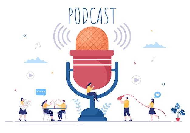 Podcast-hintergrund-vektor-illustration menschen, die headset verwenden, um audio aufzunehmen, gastgeber interviewen gast oder online-show mit tonaufnahmegerät und mikrofonkonzept