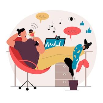 Podcast influencer illustration