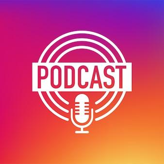 Podcast-konzept. dünne linie weißes symbol. abstraktes symbol. abstrakter hintergrund mit farbverlauf. moderner schallwellen-equalizer. vektor-illustration.