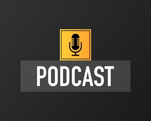 Podcast-konzept. dünnes bannersymbol. abstraktes symbol. schwarzer hintergrund. moderner schallwellen-equalizer. vektor-illustration.