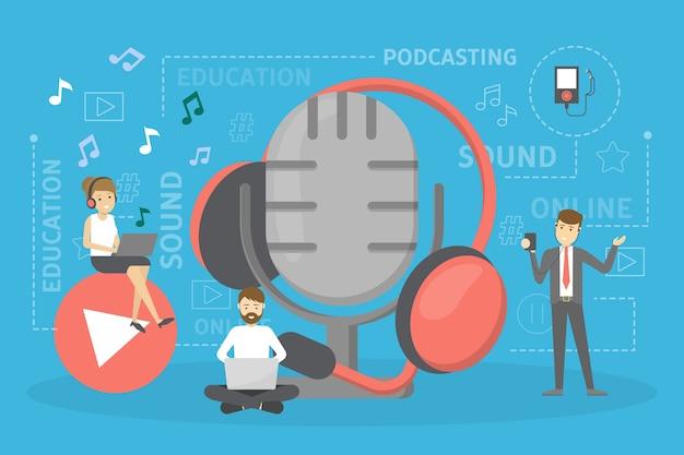 Podcast-konzept. idee eines podcasting-studios und leute im kopfhörer, die mit mikrofon und aufnahme chatten. radio oder digitale medien. illustration