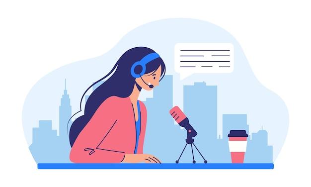Podcast-konzept illustration über podcasting mädchen, das ton über kopfhörer hört