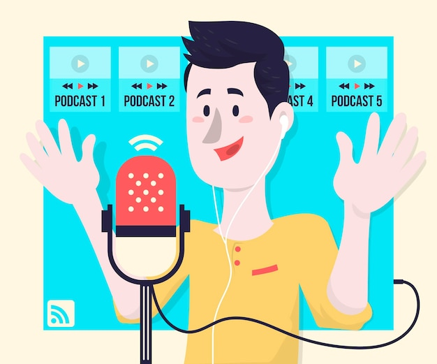 Podcast-konzept illustrationskonzept