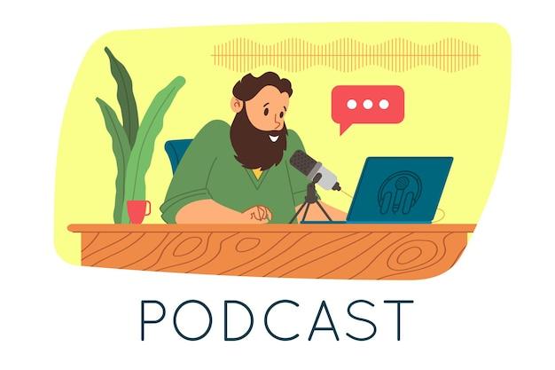 Podcast-konzept. podcasting-cartoon-illustration. podcaster spricht in mikrofon und nimmt audio-podcast oder online-show auf. radiomoderator sendet im radio. flache vektorgrafik.