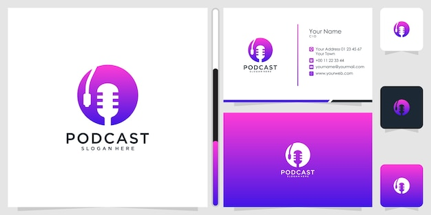 Podcast-logo-design und visitenkarte