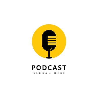 Podcast logo icon design vector template mikrofonsymbole
