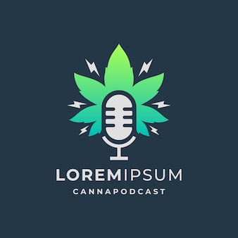 Podcast-logo mit cannabis-blatt-vorlage