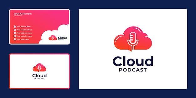 Podcast-logo mit farbverlauf mit wolkenkombinationen und visitenkarte,