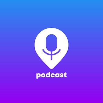 Podcast-logo-symbol mit stecknadelmarkierung