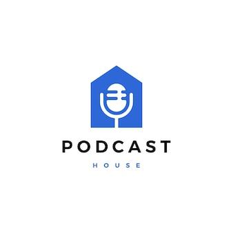 Podcast mic hausausgangslogo-ikonenillustration