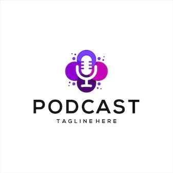 Podcast-mikrofon-design-logo und blumenlogo.