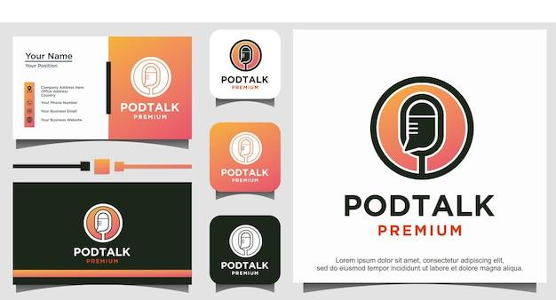 Podcast-mikrofon-gespräch-chat-blase-logo vektor