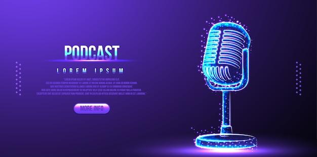 Podcast, mikrofon. low poly wireframe design