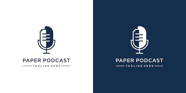 Podcast mit logo-vorlage im papierstil