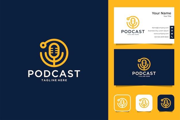 Podcast modernes logo-design und visitenkarte