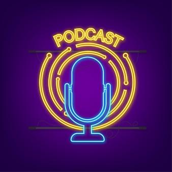 Podcast-neon-symbol. abzeichen, symbol, stempel, logo. neon-symbol. vektorgrafik auf lager