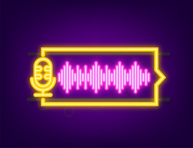 Podcast-neon-symbol. abzeichen, symbol, stempel, logo. vektorgrafik auf lager