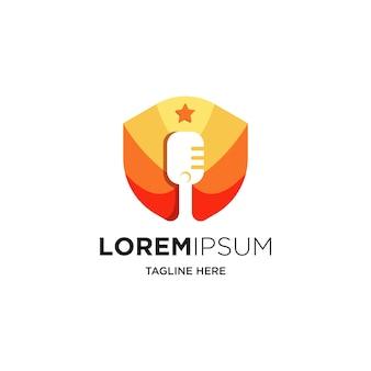Podcast- oder radio-logo-design mit mikrofon