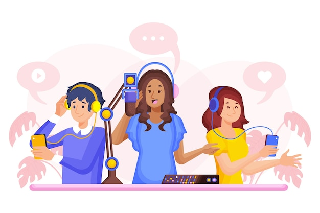 Podcast-radiosender-konzeptillustration