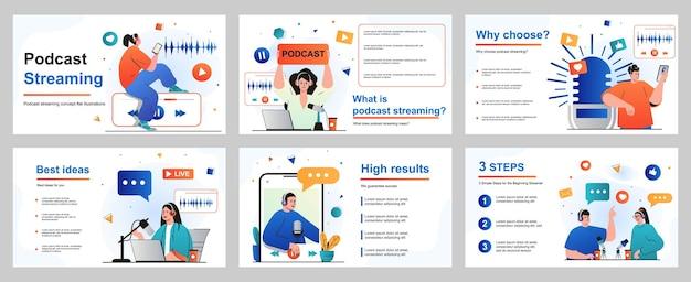 Podcast-streaming-konzept für präsentationsfolienvorlage menschen mit kopfhörern