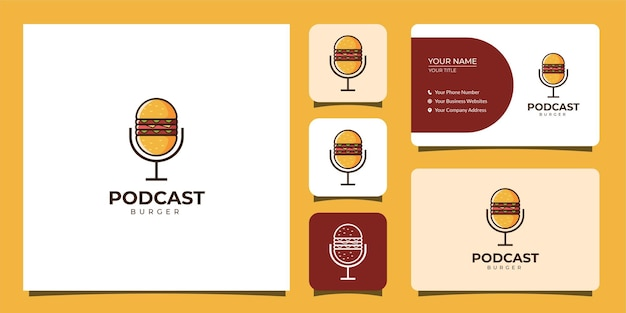 Podcast und burger logo mit visitenkartenvorlage
