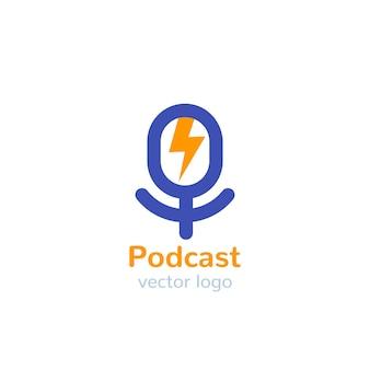 Podcast-vektorlogo mit mike mi Premium Vektoren