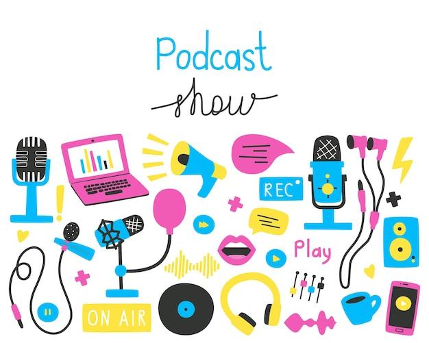 Podcasts stellen helle vektorillustration in einem flachen stil ein