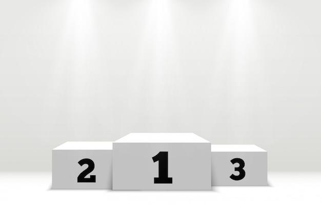 Podest für die belohnung der gewinner. weißes podium oder plattform mit scheinwerfern.
