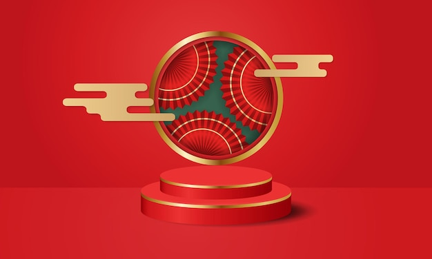 Podestbühne im chinesischen stil, dekoriert mit goldener wolke und rotem orientalischem fächer