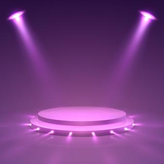 Podium auf der bühne. zeremoniepräsentationssäule mit scheinwerfern. spots award, siegertreppchen