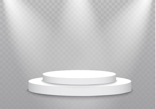 Podium auf transparentem hintergrund. das podium der gewinner mit hellen lichtern. spotlight. beleuchtung. illustration.attention.