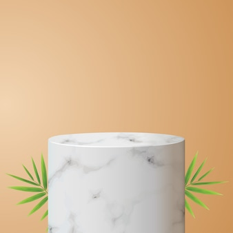 Podium aus weißem marmor mit schatten für die produktplatzierung