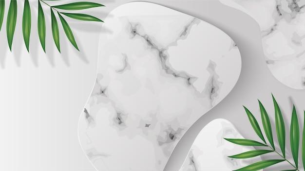 Podium aus weißem marmor mit schattenblättern für die produktplatzierung