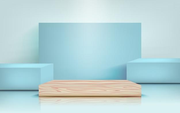 Podium für produktpräsentation in pastellblau, für design. säulenständer-szenen, illustration im realistischen stil