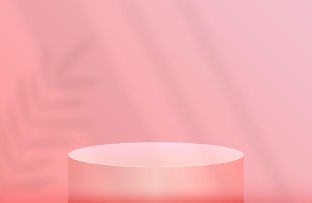 Podium für produktpräsentation in pastellrosa mit schattenblatt