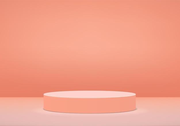 Podium in der abstrakten komposition 3d rendern hintergrund in der orange farbe
