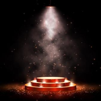 Podium mit beleuchtung. szene mit für preisverleihung auf dunklem hintergrund mit rauch. illustration. goldpodest auf dunklem hintergrund mit rauch.