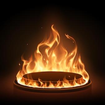 Podium mit flammenring