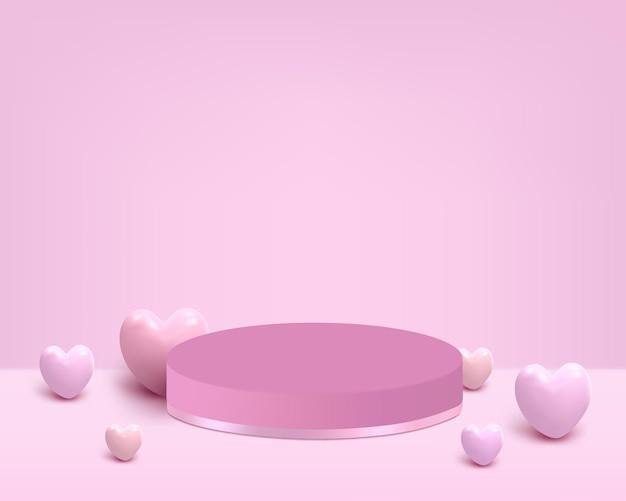 Podium mit rosa herz zum platzieren des produkts