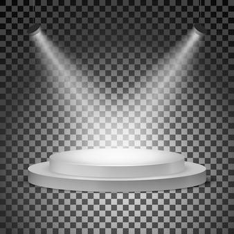 Podium mit scheinwerfern beleuchtet