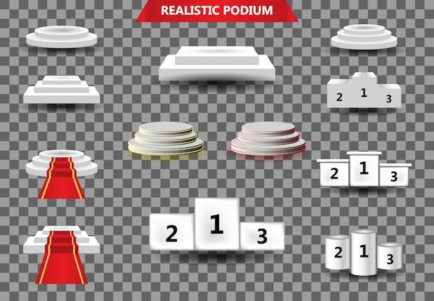 Podium mit vorhang auf hellem hintergrund. emplty sockel für awarnd, roter teppich und lichtstudio. zeremonie champion plattform illustration vorlage