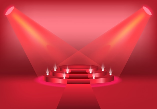 Podium mit vorhang auf hellem rot